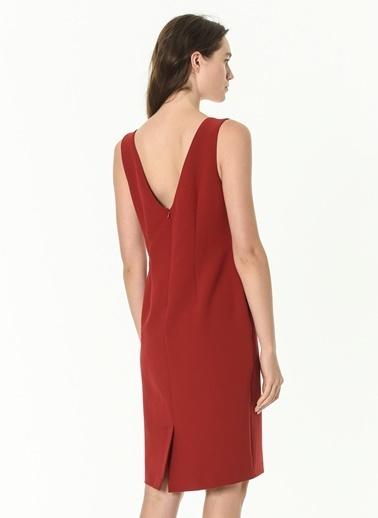 Beymen Studio Beymen Studio V Yaka Kırmızı Elbise Kırmızı